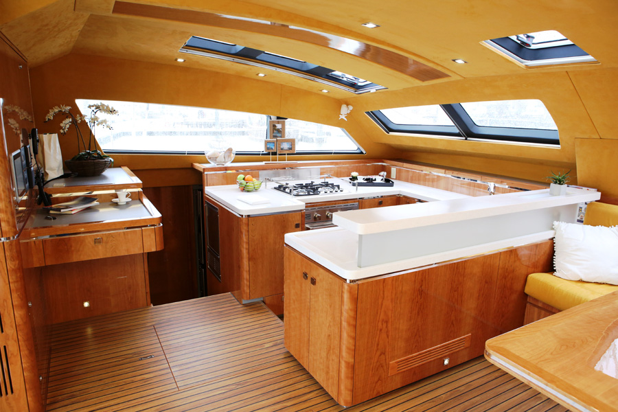 Privilege Serie 5 Catamaran Galley and Nav